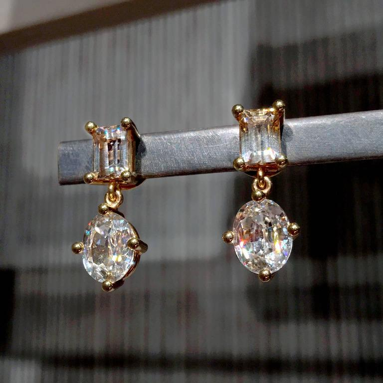 Zimmermann Natural Brilliant Champagne Baguette Oval Zircon Princess Earrings In New Condition For Sale In Dallas, TX