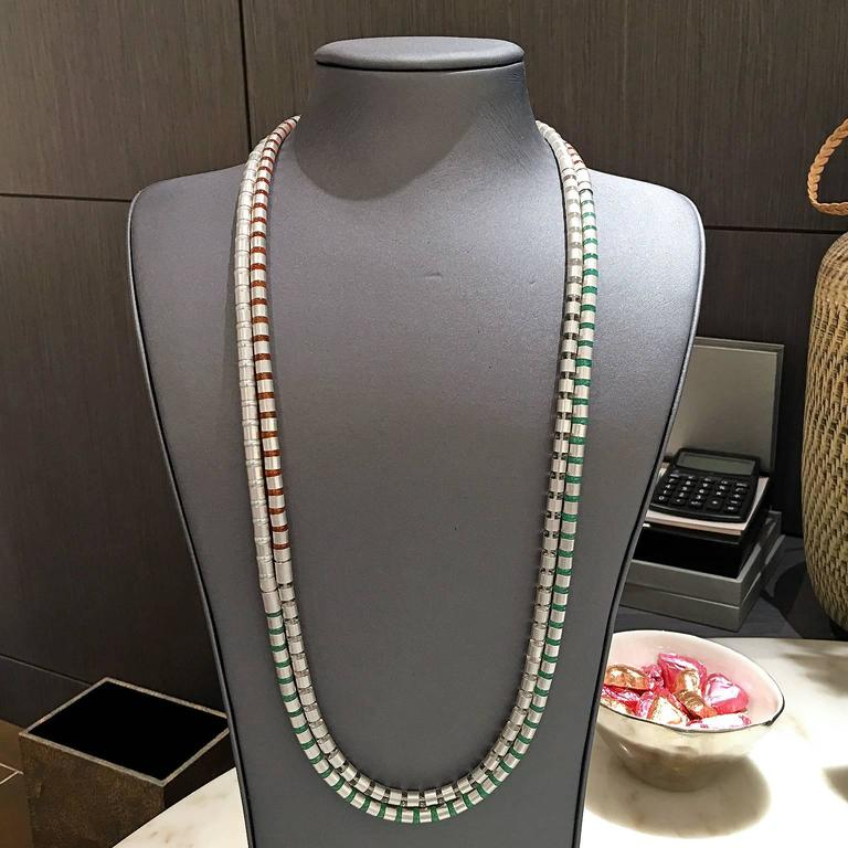 Ball Cut Zimmermann Pearl Chrysoprase Rock Crystal Carnelian Versatile Wrap Necklaces For Sale