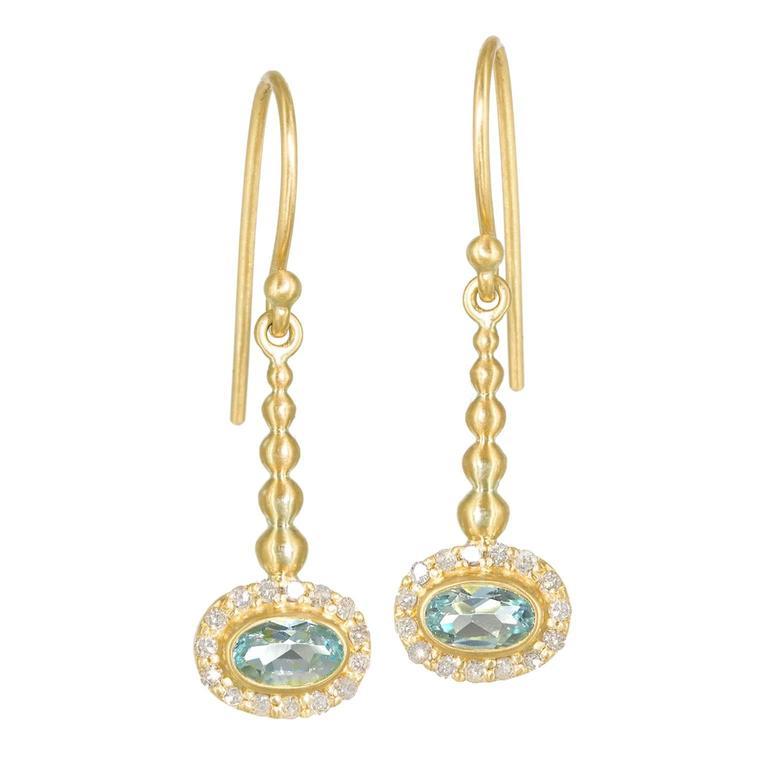 Kothari Shimmering Aquamarine Diamond Handmade Gold Pendulum Earrings