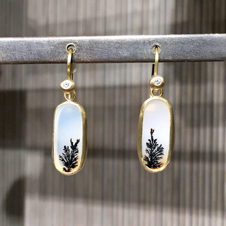 Artist One of a Kind Translucent White and Black Dendrite Agate Diamond Dangle Earrings For Sale