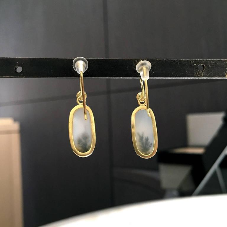 One of a Kind Translucent White and Black Dendrite Agate Diamond Dangle Earrings In New Condition For Sale In Dallas, TX
