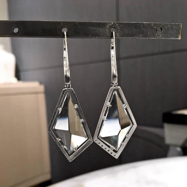 Artist Unique Custom Cut Sage Amethyst Ice Green Diamond Matte Palladium Drop Earrings For Sale