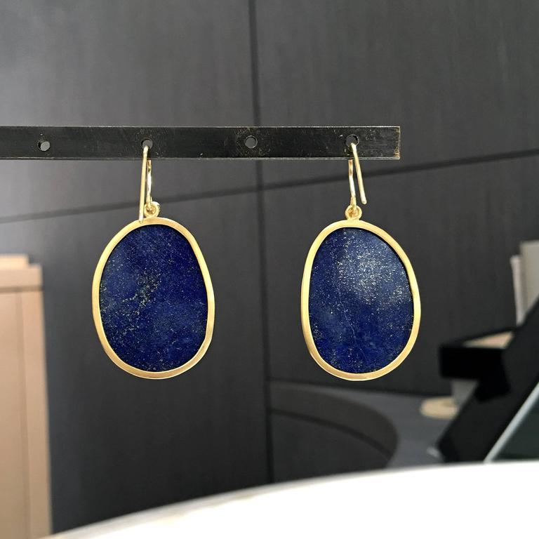 Faceted Blue Gold Lapis Lazuli White Diamond Matte Finish Dangle Drop Earrings For Sale 1