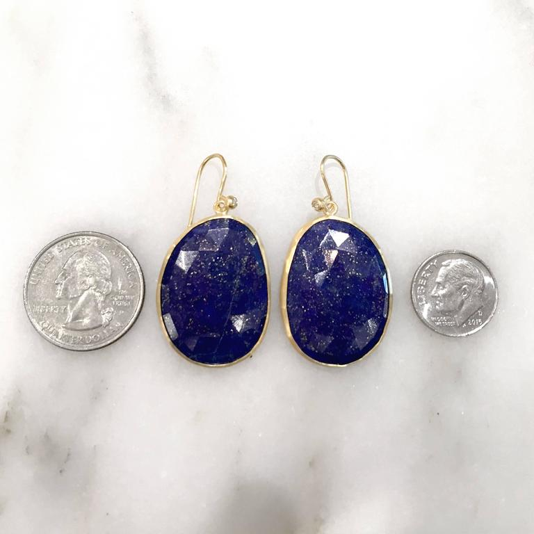 Women's Faceted Blue Gold Lapis Lazuli White Diamond Matte Finish Dangle Drop Earrings For Sale