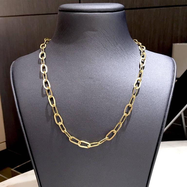 Petra Class Handmade Heavy Oval Links Matte Gold Chain Link Necklace