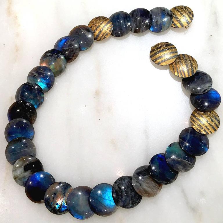 Cabochon Atelier Zobel Spectrolite Labradorite Diamond Gold Silver Disc Necklace For Sale