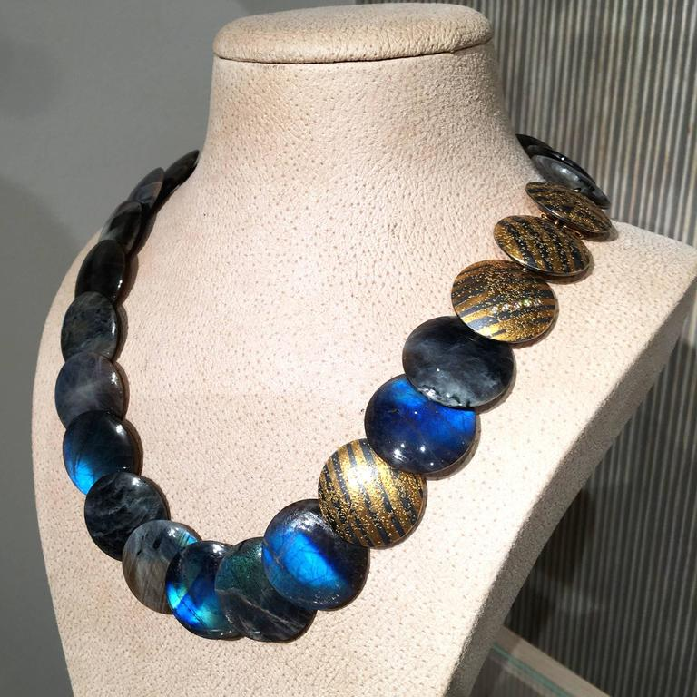 Artist Atelier Zobel Spectrolite Labradorite Diamond Gold Silver Disc Necklace For Sale