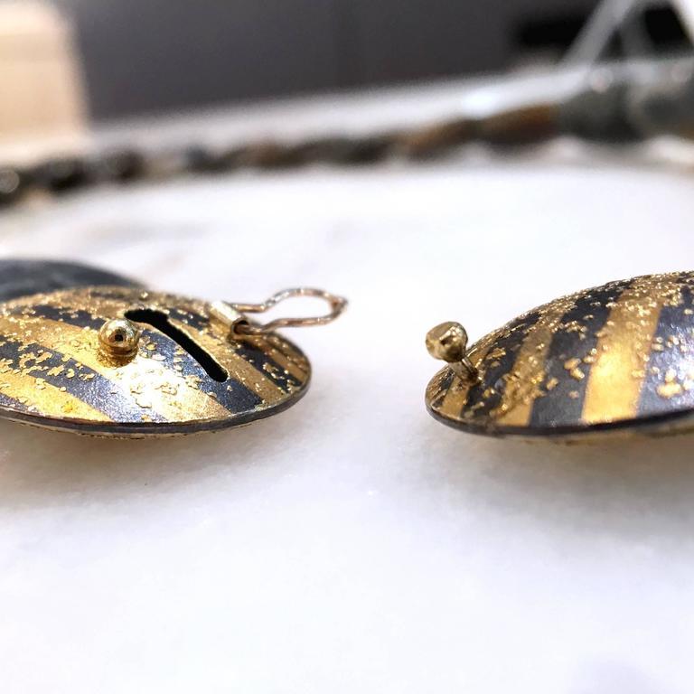 Atelier Zobel Spectrolite Labradorite Diamond Gold Silver Disc Necklace For Sale 2