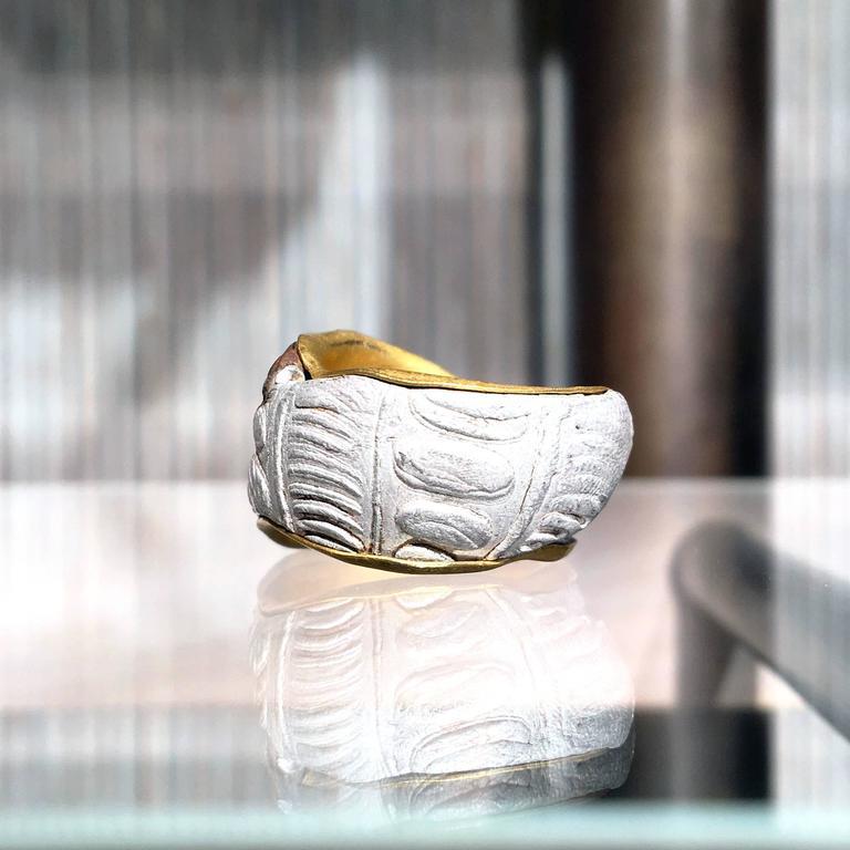 Five Multicolored Diamond Gold Silver Copper Mokumegane Unique Band Ring 5