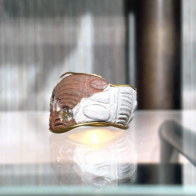 Five Multicolored Diamond Gold Silver Copper Mokumegane Unique Band Ring 6