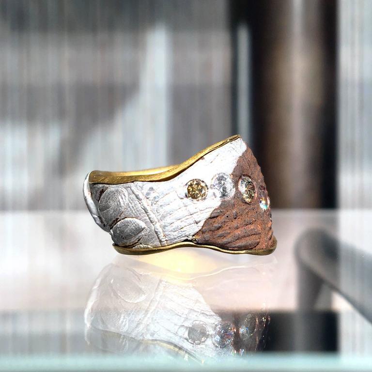 Five Multicolored Diamond Gold Silver Copper Mokumegane Unique Band Ring 3