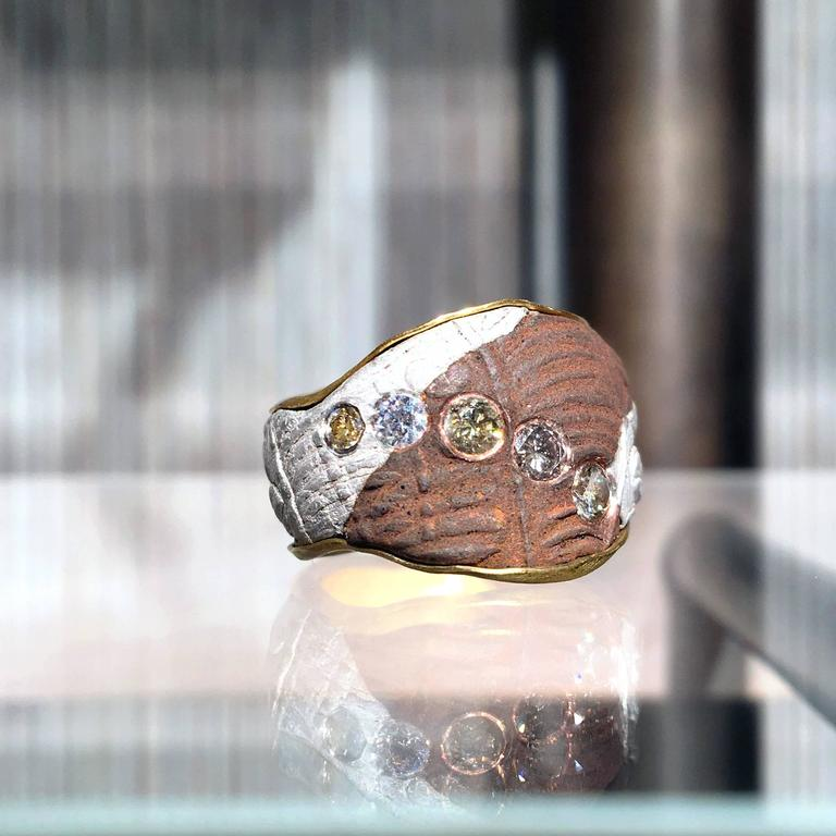 One of a Kind Ring handcrafted in Germany with five bezel-set round brilliant-cut white diamonds on a specialized pure gold, fine silver, and copper Mokumegane band with a magnificent 22k gold interior. Size 7.25.  Stamped and Hallmarked