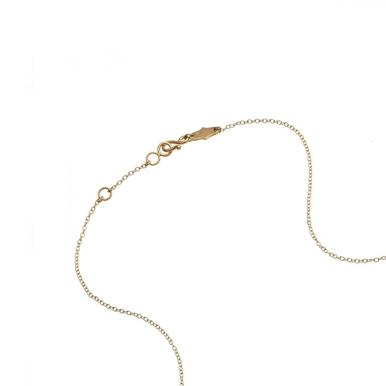 White Diamond Motif Matte Gold Open Cage Lariat Handmade Drop Necklace For Sale 1