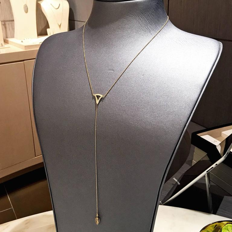 Artist White Diamond Motif Matte Gold Open Cage Lariat Handmade Drop Necklace For Sale