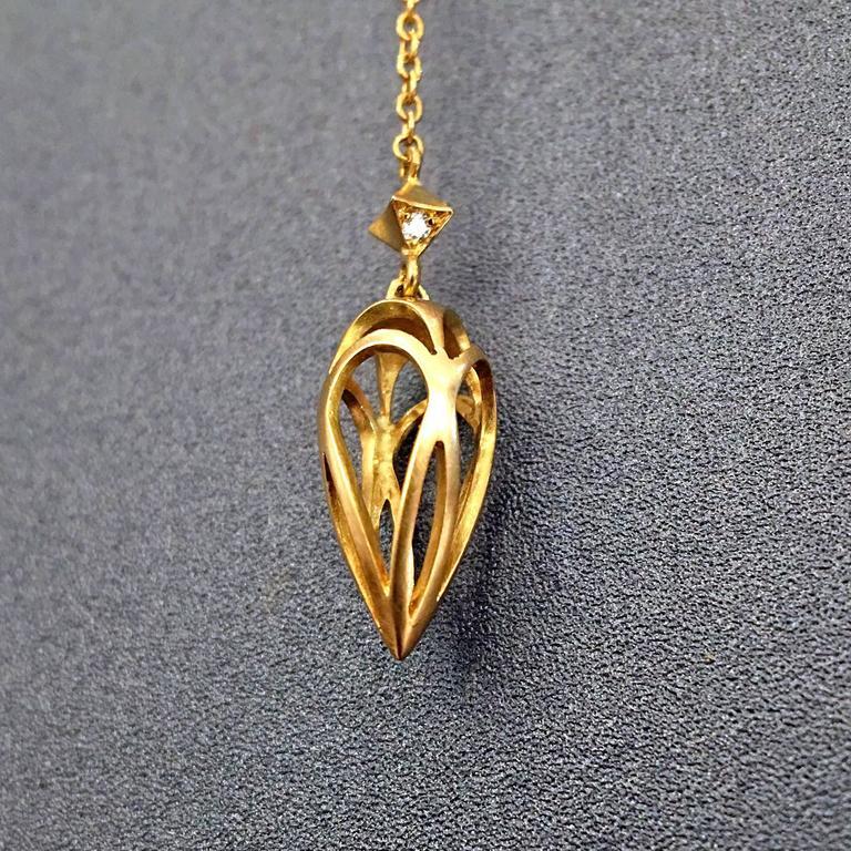 White Diamond Motif Matte Gold Open Cage Lariat Handmade Drop Necklace 5