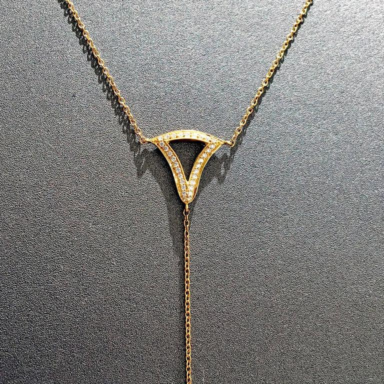 White Diamond Motif Matte Gold Open Cage Lariat Handmade Drop Necklace In New Condition For Sale In Dallas, TX