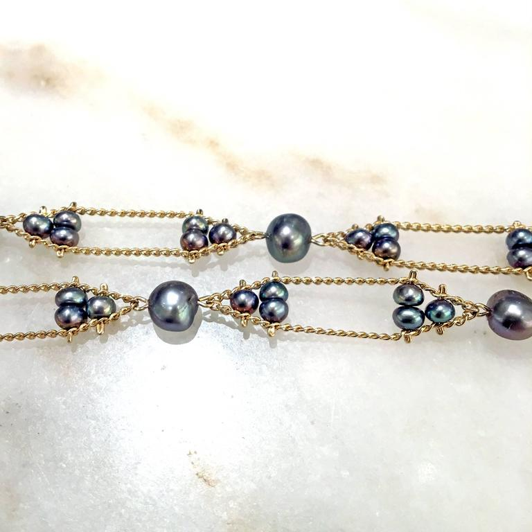 Multicolored Blue Violet Silver Peacock Pearl Long Gold Chain Necklace 5