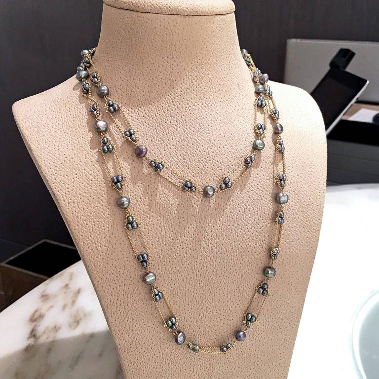 Multicolored Blue Violet Silver Peacock Pearl Long Gold Chain Necklace 4
