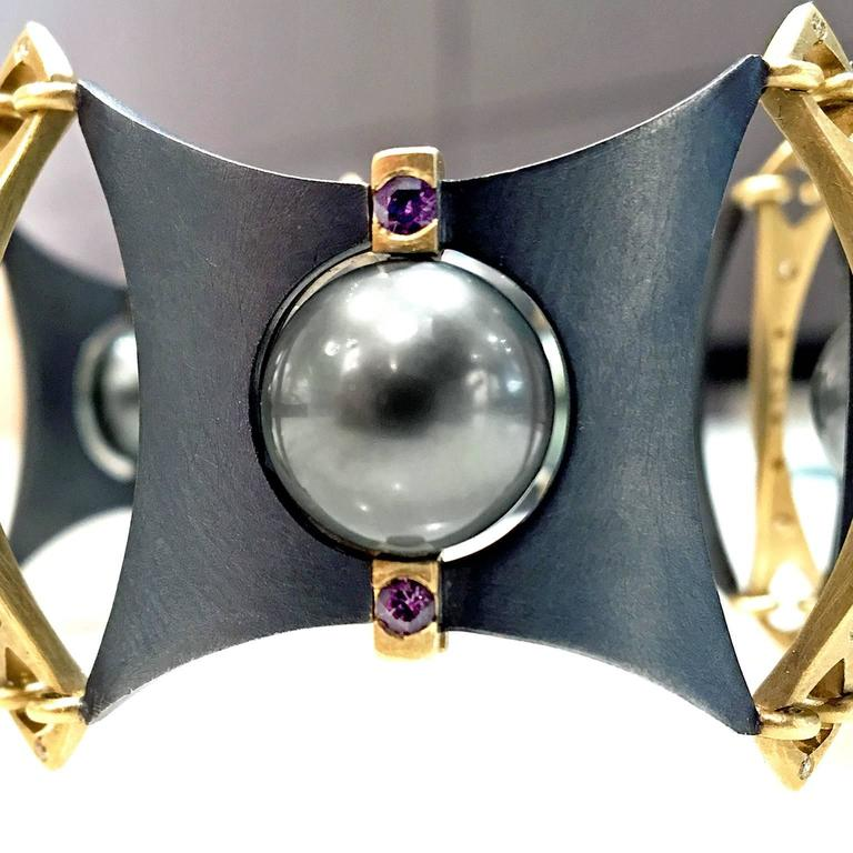 Award Winning Rolling Tahitian Pearl Color Change Garnet Diamond AXIS Bracelet 5