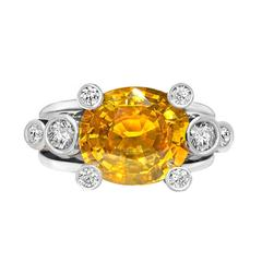 Extraordinary Honey Orange Sapphire White Diamond Gray Gold Hollywood Ring
