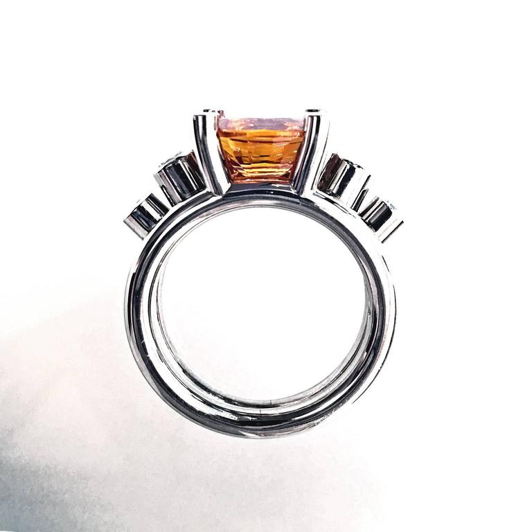 Extraordinary Honey Orange Sapphire White Diamond Gray Gold Hollywood Ring For Sale 2