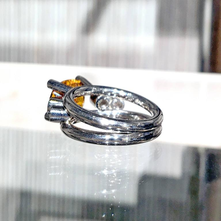 Extraordinary Honey Orange Sapphire White Diamond Gray Gold Hollywood Ring For Sale 3