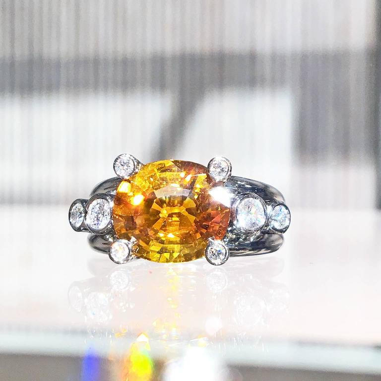 Extraordinary Honey Orange Sapphire White Diamond Gray