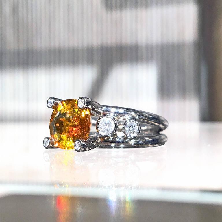 Extraordinary Honey Orange Sapphire White Diamond Gray Gold Hollywood Ring For Sale 1