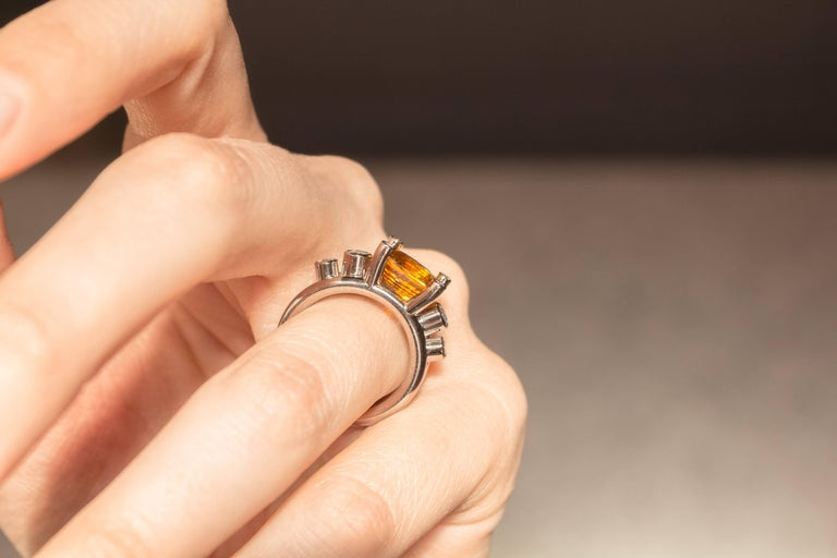 Modern Extraordinary Honey Orange Sapphire White Diamond Gray Gold Hollywood Ring For Sale