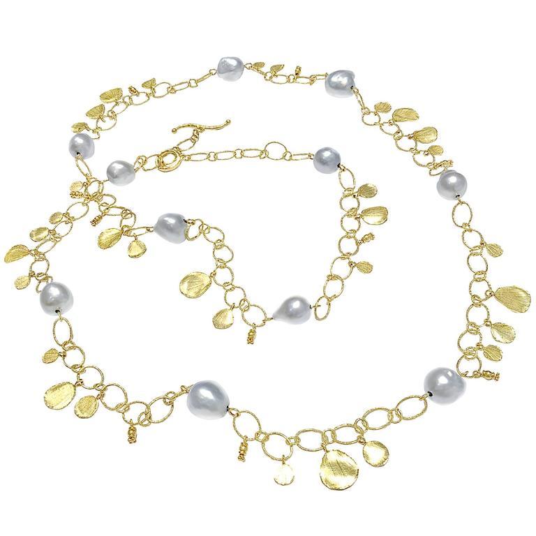 Barbara Heinrich Silver Blue Baroque Pearl Hammered Gold Petal Necklace