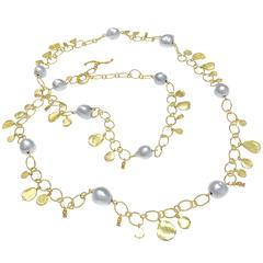 Barbara Heinrich Silver Blue Baroque Pearl Hammered Gold Petal Necklace