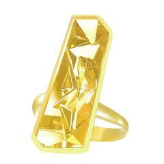Atelier Munsteiner Vivid Golden Beryl Satin Gold Vertical Bar Picasso Ring