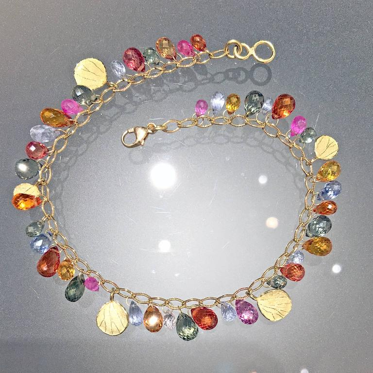 Artist Barbara Heinrich Multicolored Sapphire Faceted Briolette Gold Petals Bracelet