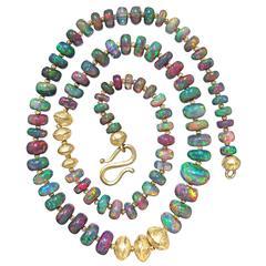 Atelier Zobel Black Ethiopian Opal Rich Burmese Gold Handmade Necklace