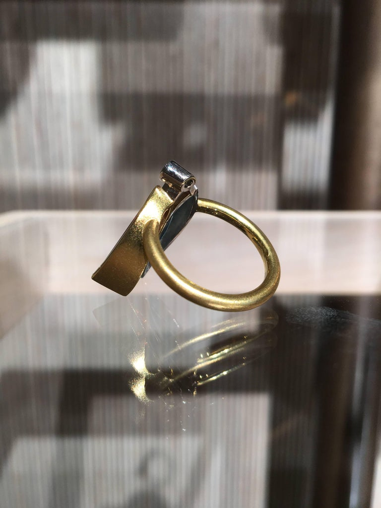 Atelier Munsteiner Aquamarine Spessartine Garnet Diamond Platinum Gold Ring For Sale 3