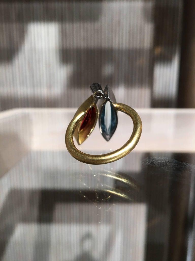Atelier Munsteiner Aquamarine Spessartine Garnet Diamond Platinum Gold Ring For Sale 4
