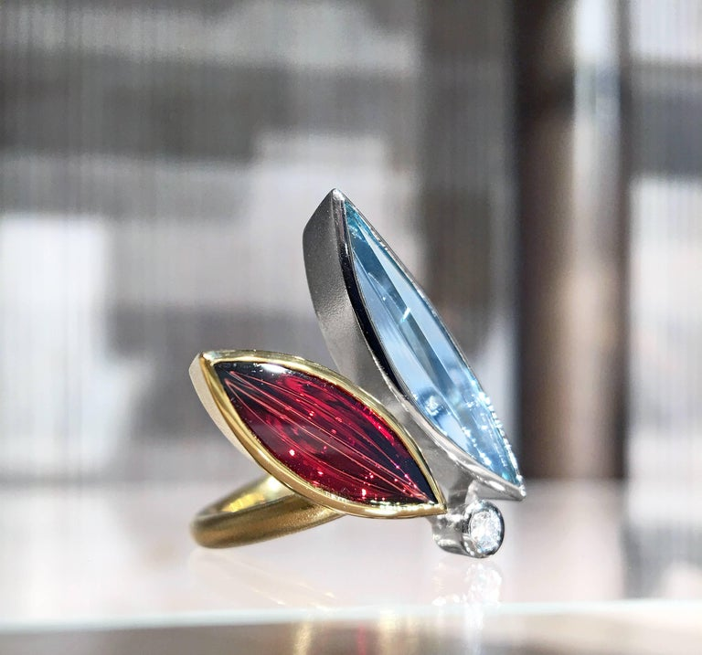 """One of a Kind Erotik Ring by the internationally-acclaimed """"Picasso of Gem Cuts"""", German master metalsmith and gem-cutter Atelier Munsteiner, handcrafted in a combination of matte and high-polished 18k yellow gold and platinum featuring a"""