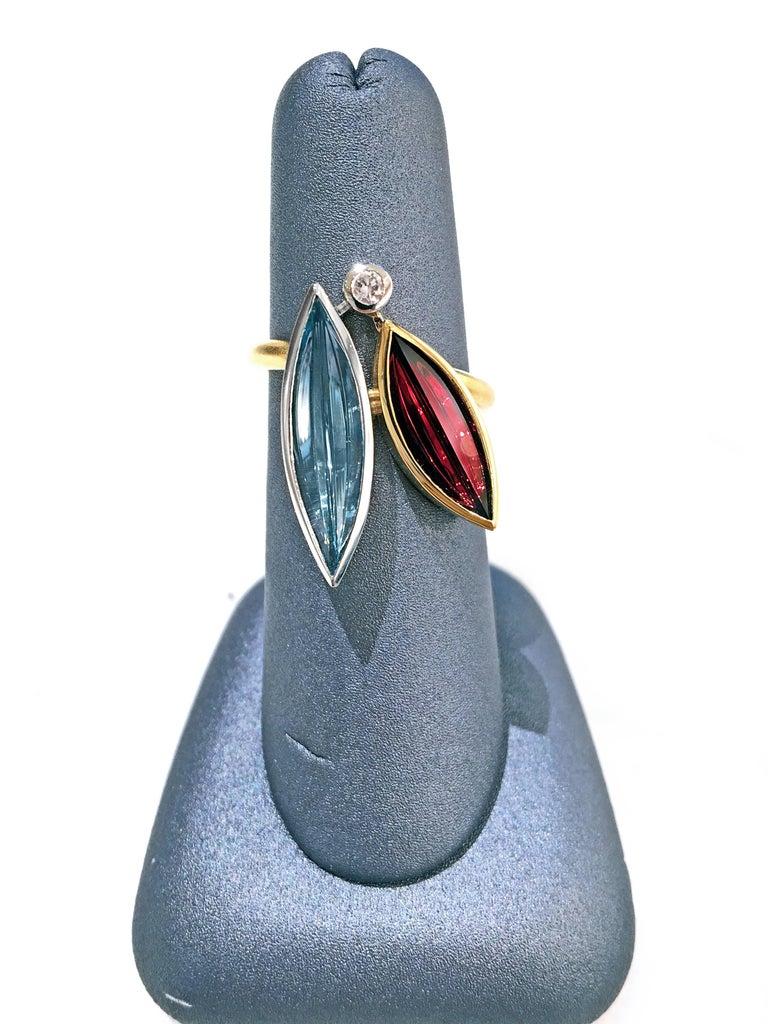 Atelier Munsteiner Aquamarine Spessartine Garnet Diamond Platinum Gold Ring For Sale 1