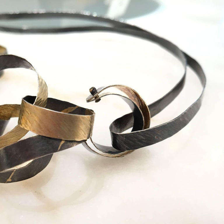 Reiko Ishiyama Linked Rings Oxidized Silver Yellow Gold Handmade Necklace For Sale 3