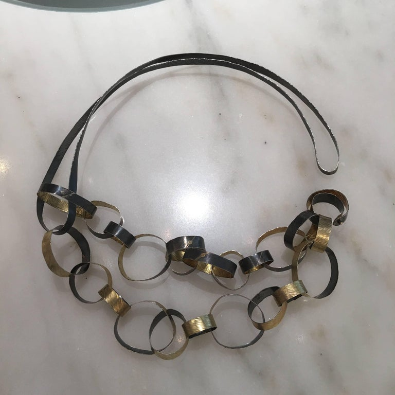 Artist Reiko Ishiyama Linked Rings Oxidized Silver Yellow Gold Handmade Necklace For Sale