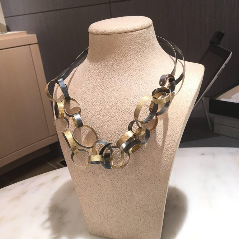 Women's Reiko Ishiyama Linked Rings Oxidized Silver Yellow Gold Handmade Necklace For Sale