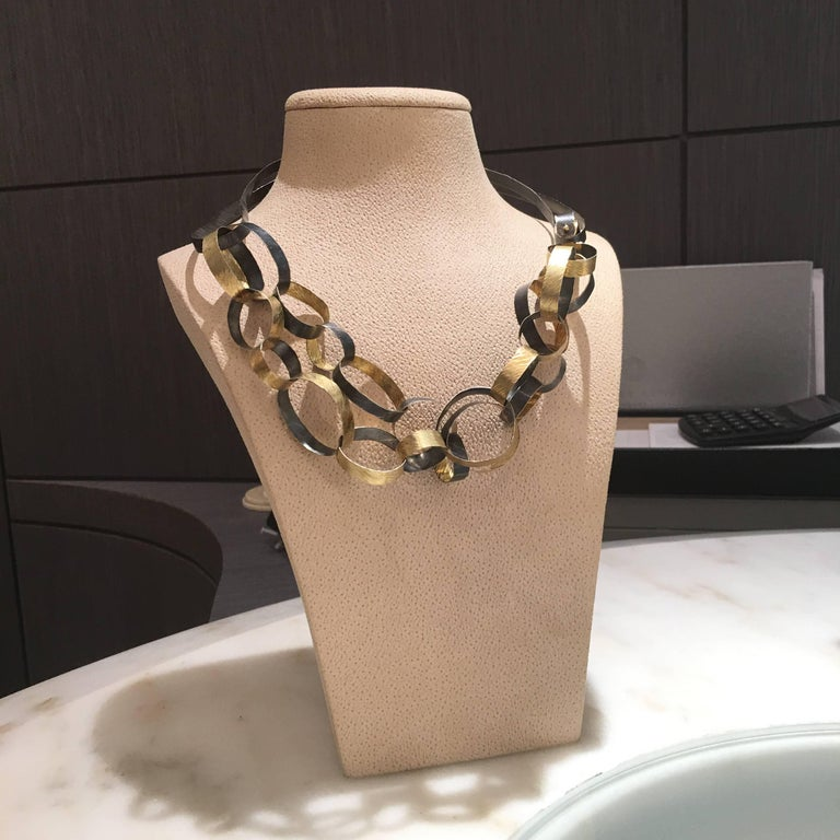 Reiko Ishiyama Linked Rings Oxidized Silver Yellow Gold Handmade Necklace In New Condition For Sale In Dallas, TX