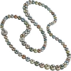 Atelier Zobel Fine Multicolored Tahitian Pearl Multilength Hidden Clasp Necklace