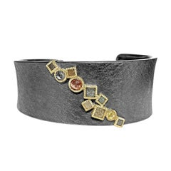 Todd Reed Rose Cut and Raw Diamond Cube Curved Cuff Bracelet
