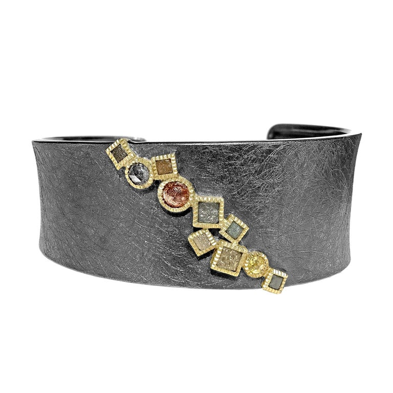 Todd Reed Rose Cut and Raw Diamond Cube Curved Cuff Bracelet 1
