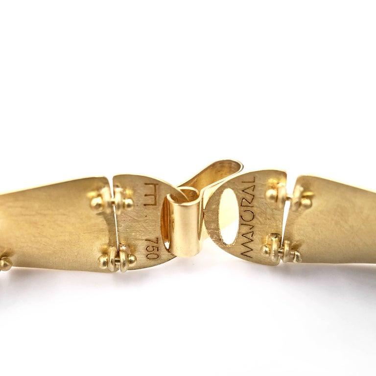 Artist Enric Majoral White Diamond Embedded Gold Waves Link Bracelet, Spain For Sale