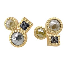 Todd Reed Rose Cut and Raw Diamond Cube Mismatched Triple Stud Earrings