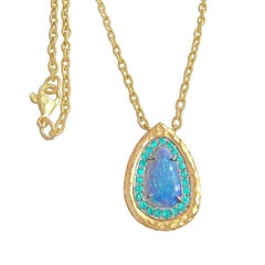 Pamela Froman One of a Kind Lightning Ridge Opal Paraiba Tourmaline Necklace