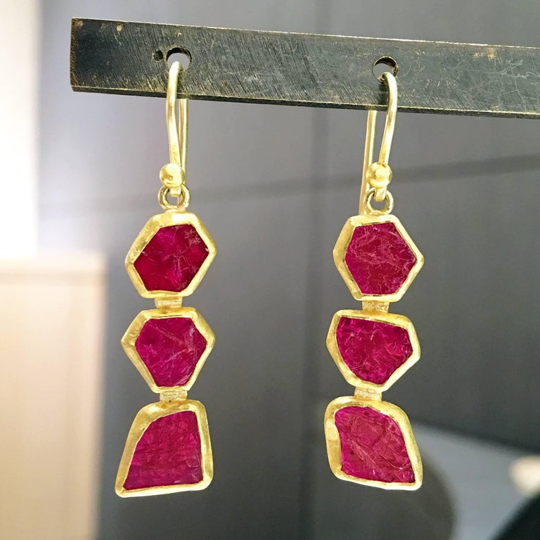 Petra Class One of a Kind Ruby Crystal Dangle Drop Earrings 2