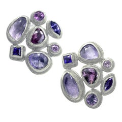 Petra Class Purple Blue Rose Cut and Faceted Sapphire Palladium Stud Earrings